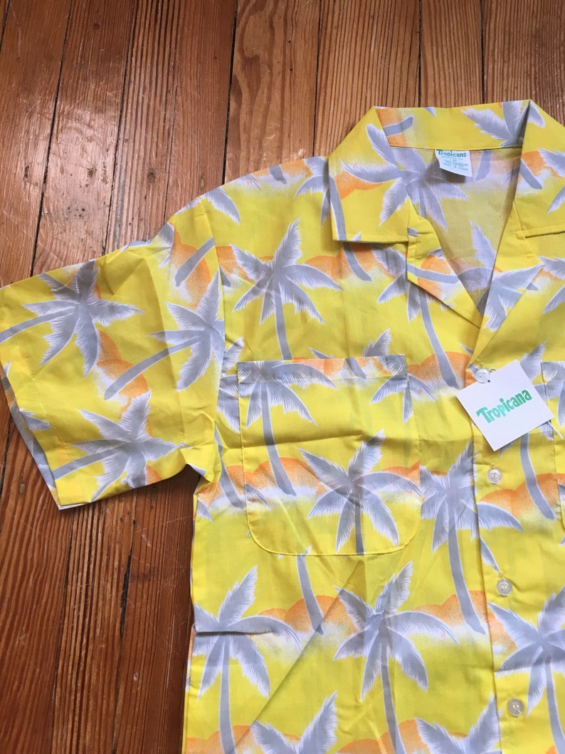 ff385a63 Vintage 80's Tropicana Hawaiian shirt yellow palm trees | Etsy