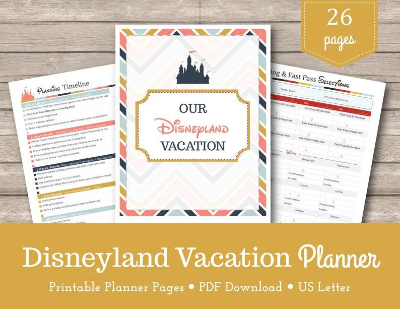 Disneyland Vacation Planner / California / Travel Planner / Disneyland /  Planning Printables / Vacation Organizer / Instant Download