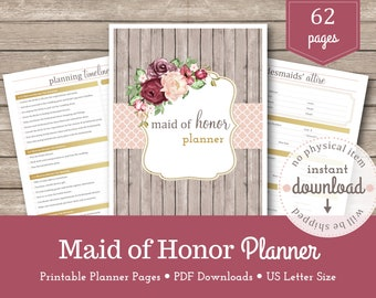 Maid of Honor Planner / Wedding Planning / Bridesmaid Planner /  Bridal Shower / Bachelorette Party / Bridesmaid Proposal / Matron of Honor