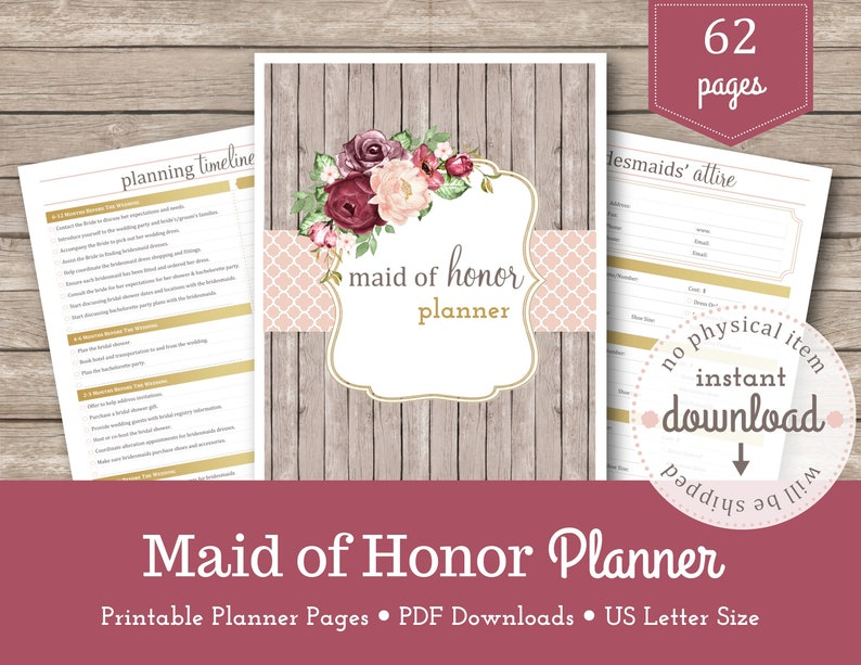 picture about Maid of Honor Printable Planner known as Maid of Honor Planner / Marriage ceremony Creating / Bridesmaid Planner / Bridal Shower / Bachelorette Bash / Bridesmaid Proposal / Matron of Honor