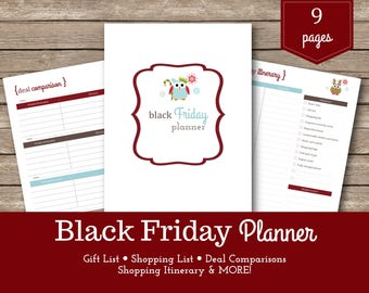 Black Friday Planner / Christmas Planner / Holiday Planner / Christmas Organizer / Shopping Lists