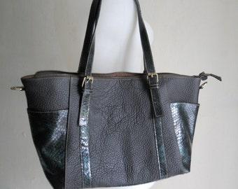 Venici Grey Leather Tote
