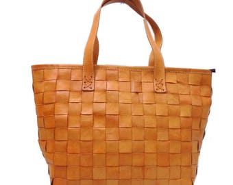 Woven leather 3 cm tote bag