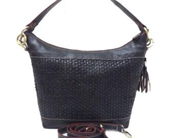 Woven Leather Black hobo bag