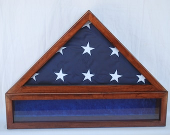 memorial military flag display case with medals section