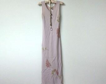 Romantic Vintage Boho Mauve, Dusty Pink, Floral Print Sleeveless Maxi Dress, Scoop Neck Sheath, Sheer Overlay Over Solid Slip