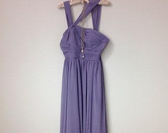 Gorgeous Vintage Diaphanous Elegant Smoky Violet Purple Maxi Dress, Romantic Old Hollywood Style