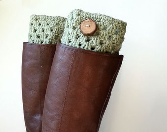 Boho Cozy Pale Sage Green Crochet Boot Cuffs or Boot Toppers with Real Handmade Wood Button, Leg Warmers