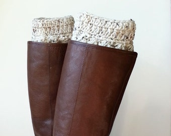 Boho Cozy Ivory Fleck, Speckled Cream, Crochet Boot Cuffs or Boot Toppers in a Nubby Bubble Stitch, Leg Warmers