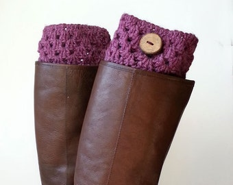 Boho Cozy Rose Pink, Heather Pink Boot Cuffs or Boot Toppers with Real Handmade Wood Button, Leg Warmers