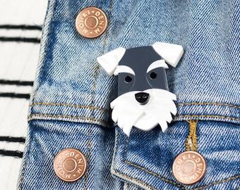 Schnauzer Dog Acrylic Brooch, Pin Badge for Dog Lover
