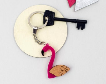 Flamingo Keyring, Tropical Bird Key Chain, Animal Key Holder, Laser Cut Acrylic & Wood, Gift for Pink Flamingo Lover, Scandinavian Design