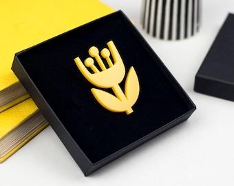 Scandinavian Yellow Flower Acrylic Brooch, Bright Laser cut Floral Pin Badge