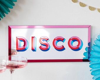 Disco Mirror Wall Art, Typographic Music Picture, Party Disco Sign, Retro Dance Home Decor