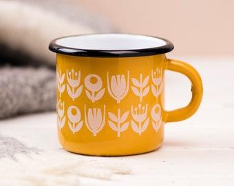 Yellow Enamel Outdoor Mug, Camping Travel Cup, Retro Scandi Yellow Flower