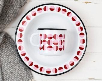 Geometric Enamel Plate, Outdoor Picnic Dish, Camping Travel Platter, Retro Red & Pink Semi Circle Pattern