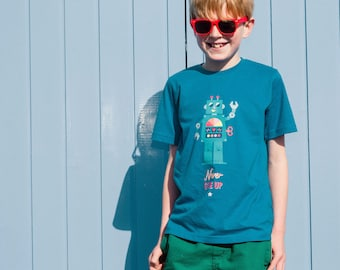 Robot kids t-shirt, retro rainbow organic cotton eco-friendly top