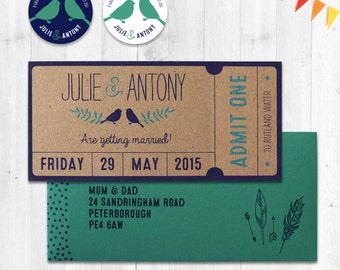Ticket Wedding Invitations, Admit One, Woodland Save the Date, Love Bird Wedding Invites, Rustic Garden Party, Summer Festival Wedding
