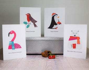 Animal Christmas Card Pack of 4 - Penguin, Polar Bear, Robin & Flamingo, Scandinavian Christmas, Cute Christmas Cards, Retro Xmas Cards