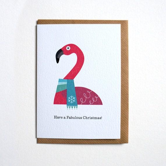 Flamingo Christmas Cards.6 Pink Flamingo Christmas Cards Tropical Happy Holidays Cards Scandinavian Christmas Cards Funny Christmas Card Pack Of 6 Flamingo Cards