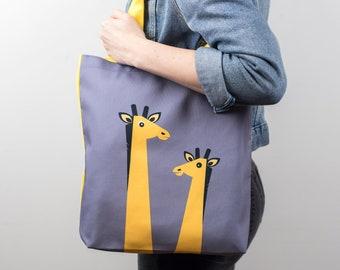 Yellow Giraffe Canvas Tote Bag