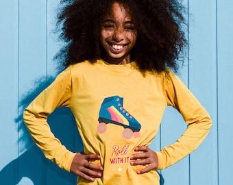 Roller skate kids t-shirt, long sleeved organic cotton top for skater
