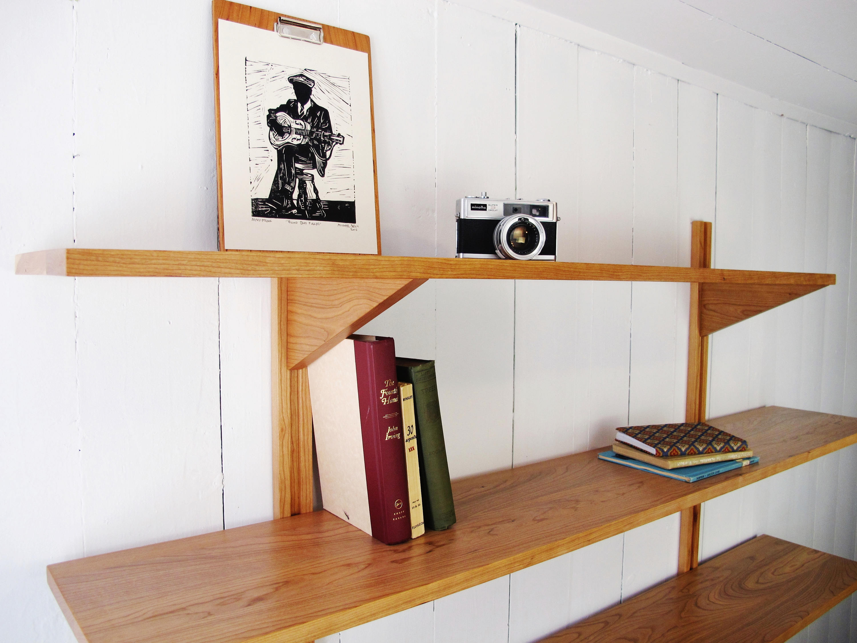 Bookshelves 5 Shelves Wall Mounted System Customizable Mid Century Bookcase Solid Wood Wall Unit Scandinavian Style Modern