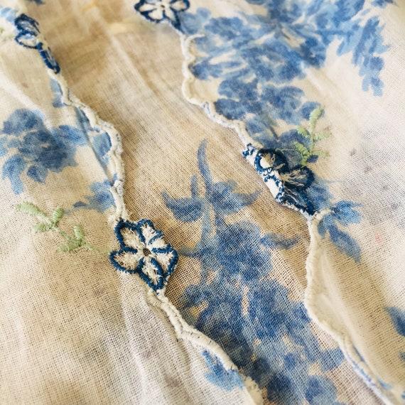 Vintage Floral Blue Indonesian Kebaya with Blue Fl