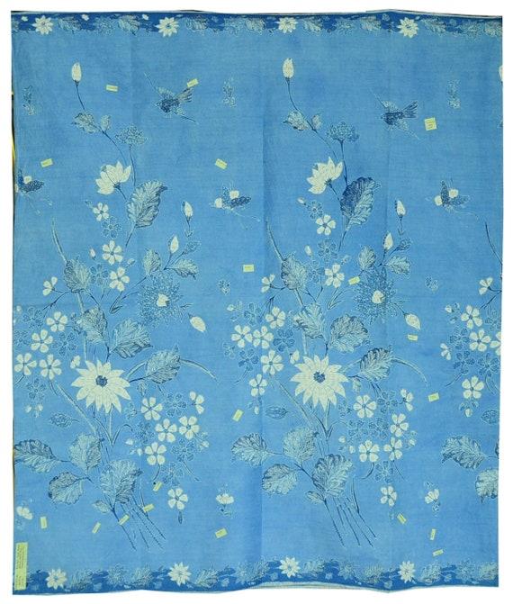 Vintage Indonesian Sarong Hand Drawn Blue (Biron)