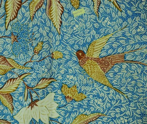 Vintage Indonesian Sarong Hand Drawn Blue Batik Du
