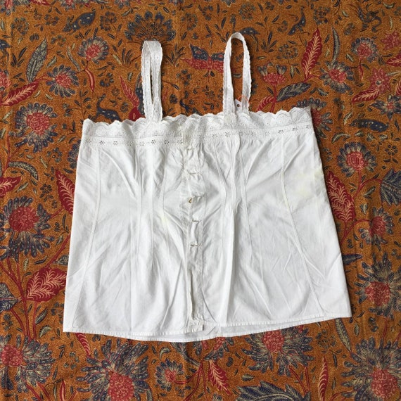 Vintage Indonesian Camisole with Dutch Lace in Whi