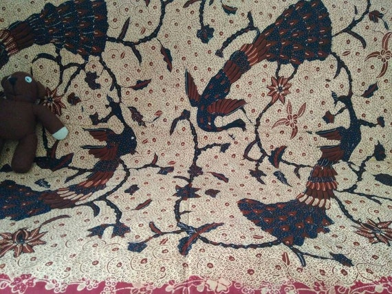 Vintage Indonesian Hand Drawn Batik with Peacock a