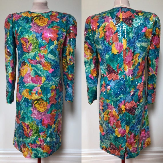 1980s Silk Cocktail Dress with Sequins Size Small