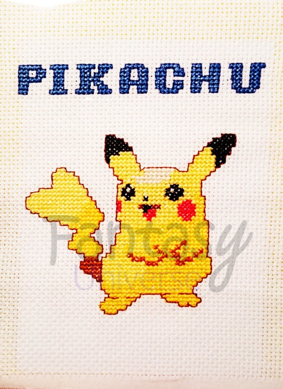 Pikachu Pokemon Cross Stitch Frame Quadretto Puntocroce Etsy