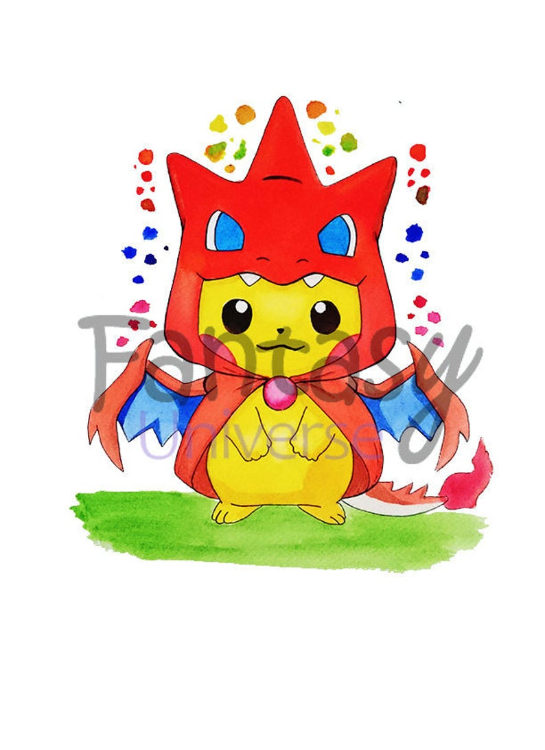 Pikachu Original Watercolor Painting Acquerello Di Pikachu Etsy