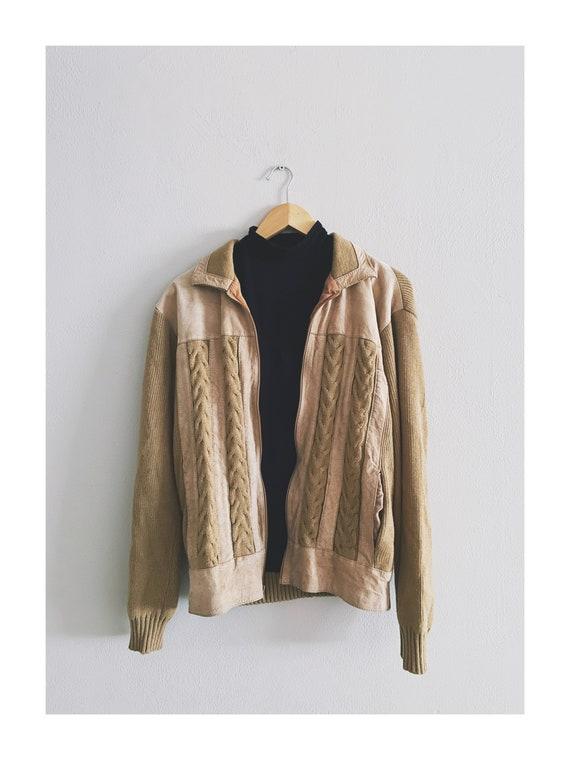 1970s Vintage Suede & Knit Jacket