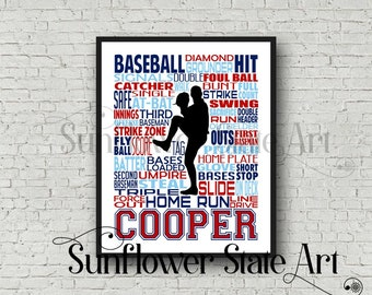 Personalized Baseball Poster, Baseball Gift Ideas, Baseball Pitcher Art Print, Baseball Team Gift, Typography, Gift for Baseball Players