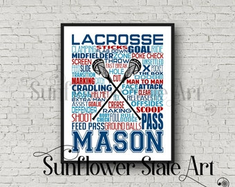 Gift for Lacrosse Player, Personalized Lacrosse Poster, Lacrosse Gift Ideas, Lacrosse Gift Typography, Lacrosse Team Gift, Lacrosse Print