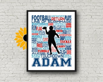 Football Helmet Poster Print Football Player Coach Gift Football Team Linebacker