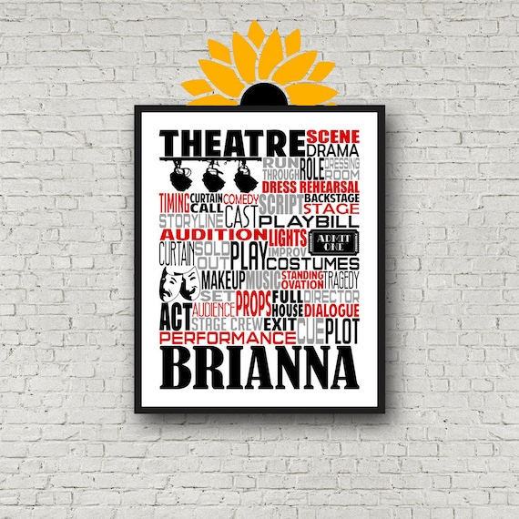 Personalized Acting Poster, Musical Theater Poster, Theatre Poster, Gift for Actress, Gift for Actor.  Acting Gift, Broadway Theatre