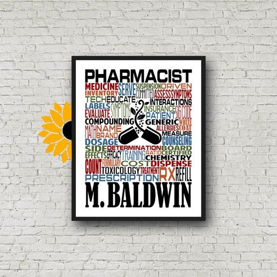 Gift for Pharmacist, Personalized Pharmacist Poster, Pharmacist Typography, Pharmacist Gift, Pharmacist Graduation Gift, Pharmacy Gift