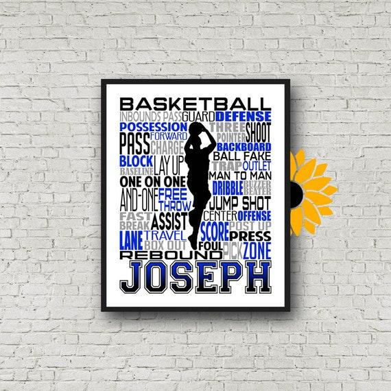 Boy's Basketball Typography, Basketball gift, basketball wall art print, Basketball Team Gift, Sports Team Gift, Basketball Poster
