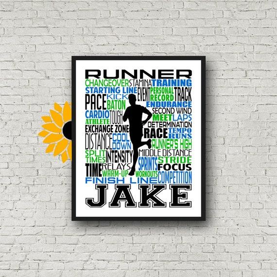 Personalized Runner Poster, Runner Typography Print, Track and Field Poster, Track and Field Team Gift, Gift for Runner, Runner Gift
