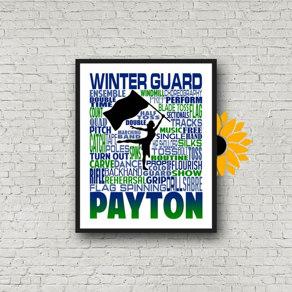 Gift for Winter Guard, Personalized Winter Guard Poster, Winter Guard Typography, Color Guard Gift, Flag Spinner Poster, Flag Spinners