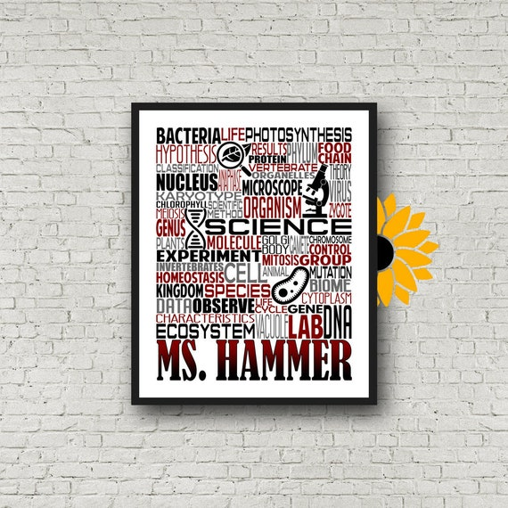Personalized Science Teacher Poster, Science Typography, Science Teacher Gift, Gift for Science Teacher, Biology Teacher Gift