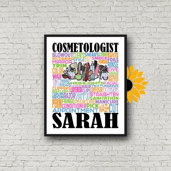 Gift for Cosmetologist, Cosmetology Typography, Personalized Cosmetology Poster, Beautician Gift, Hair Stylist Gift, Cosmetology School