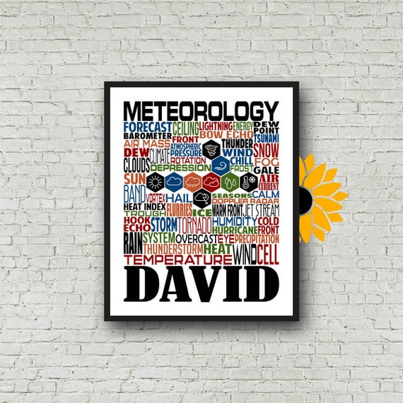 Meteorology Typography, Personalized Meteorology Poster, Weatherman Gift, Gift for Meteorologist, Weather Forecaster Gift, Meteorology Gift