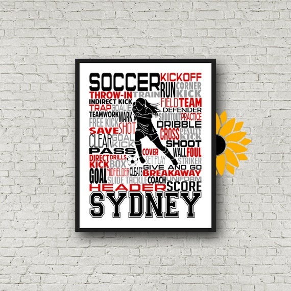 Girls Soccer Typography, Personalized Soccer Poster, Gift for Soccer Players, Soccer Gift, Soccer Team Gift, Soccer Print, Soccer Player Art