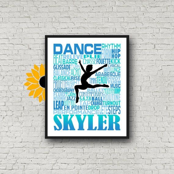 Dance Typography, Gift for Dancer, Personalized Dance Poster, Dancing Art, Dancing Print, Dance Team Gift, Custom Dancer, Custom Dance