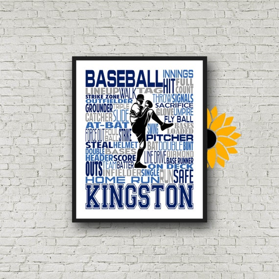 Baseball Typography, Left Handed Pitcher, Baseball Gift Ideas, Baseball Pitcher Art Print, Baseball Team Gift, Gift for Baseball Players